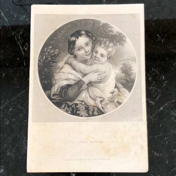 """The Little Brother 8"""" x 5.5"""" Antique Engraving"""